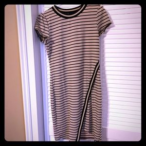 Black and Tan striped fitted thick jersey dress